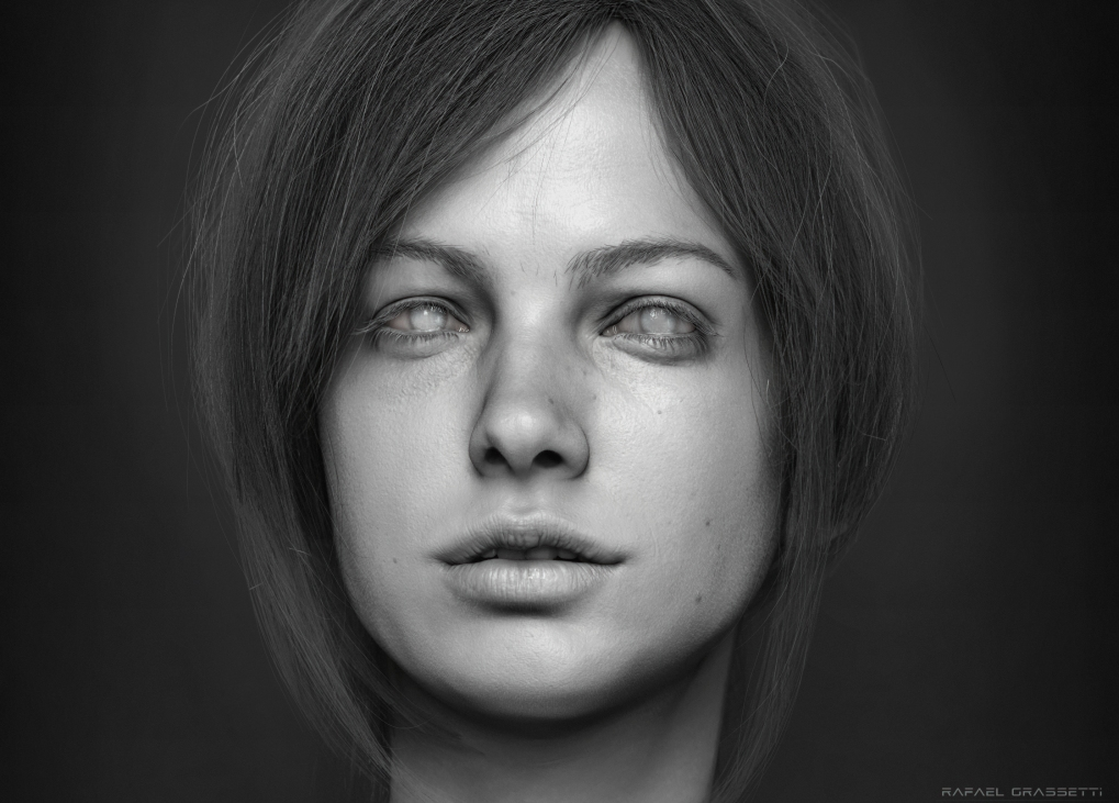 Everything modeled and rendered using ZBrush. Hair is fibermesh, eyebrow and eyelashes is a cylinder mesh placed by hand.